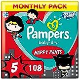 Pampers Couches-Culottes Baby-Dry Pants Taille 5 (12-17kg) Maintien 360° pour Éviter les Fuites, Faciles à Changer, Édition S