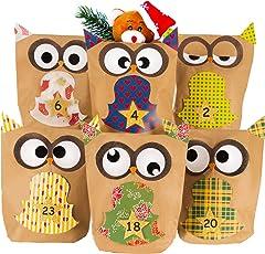 Adventskalender zum Basteln (DIY) und Selber befüllen - Bastelset Weihnachts-Eulen aus 24 Kraftpapier Tüten