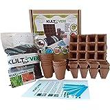 KULTIVERI Set de Cultivo de Lechugas y Tomates de 35 Piezas: Macetas y Semilleros de Germinación Biodegradables. CREA tu Huer