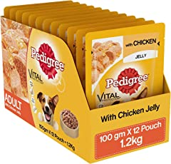 Pedigree Wet Dog Food, Chicken in Jelly for Adult Dogs – 100g (Pack of 12)