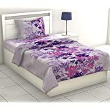 haus & kinder Fantasy Single Bedsheet Collection,100% Cotton Single Bedsheet with 1 Pillow Cover, 186 TC (Purple Blue)