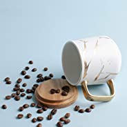 Prickly Pear Savannah 350ml Ceramic Marble Coffee Mug with Wood Saucer and Gold Inlay, White and Gold Cup