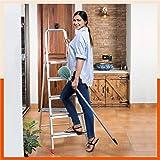 Bathla Advance 5-Step Foldable Aluminium Ladder with Sure-Hinge Technology (Orange)