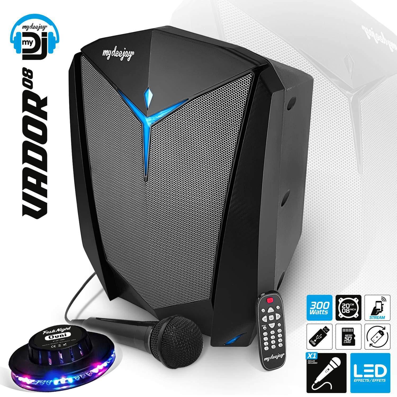 Enceinte Karaoké Mobile DJ Autonome sur Batterie 300W VADOR 08 Effet LED RVB – Bluetooth/SD/USB + Micro + Télécommande + jeu de lumièr UFO Ovni