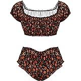 dPois Men's 2 Pieces Pumpkin Printed Crossdress Camisole Lingerie Top with Thongs Briefs Underwear