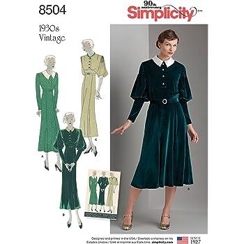 Simplicity Schnittmuster Vintage Kleid Schnittmuster, Papier, weiß ...