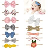Comius Sharp 12 Piezas Bebé Diadema Pelo Cintas, Elásticas Diademas Niñas Súper Elásticas Suaves Nudo de Bebé Turbante Nylon