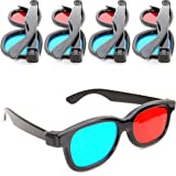 Ganzoo 4-delige set 3D-anaglyphenbrillen voor tv of pc-games (rood/blauw), 3D-bril voor tv, 3D-glazen met anaglyphen-technolo