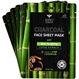 Bombay Shaving Company Charcoal Face Sheet Mask For Easy At-Home Skin Restoration (Pack of 5)