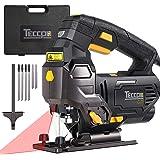 Seghetto Alternativo 800W, TECCPO 0-3000SPM Seghe con Guida Laser, 6 Velocità Regolabili, Angolo di Taglio Inclinato da…