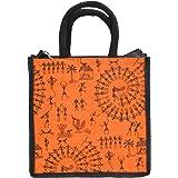 "Generic DS Trendy Jute Lunch Storage Bag Jute Tiffin Bag  Jute Bag With Zip Print Orange Black 10""x10""x6"
