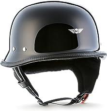 """MOTO · D33""""Black"""" (Schwarz) · Jet-Helm Braincap Bobber Halbschalen · Chopper Motorrad-Helm Mofa Retro Roller Scooter-Helm · Click-n-SecureTM Clip · Tragetasche · S (55-56cm)"""