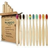 GeekerChip Spazzolino Bamboo[10 Pezzi],100% Senza BPA Vegan Spazzolini Bamboo di Riutilizzabili e Biodegradabile,con Setole d