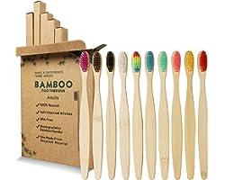 GeekerChip Lot de 10 Brosse à Dents de Bambou,10 couleurs brosse a dent bambou,Poils Doux Naturels,Écologiques Et Biodégradab