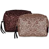 NFI essentials Pack of 2 Glittery Makeup Pouch for Women Stylish Pouches for Makeup Accessories Storage Cosmetic Pouches Make