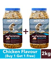 Meat Up Chicken Flavour, Real Chicken Biscuit, Dog Treats - 1kg Jar (Buy 1 Get 1 Free)
