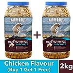 Meat Up Chicken Flavour, Real Chicken Biscuit, Dog Treats - 1kg Jar (Buy 1 Get 1 Free)