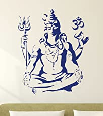 Decals Design 'Lord Shiva Om Meditating' Wall Sticker (PVC Vinyl, 50 cm x 70 cm, Blue)