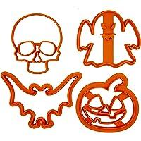 Set di 4 Tagliabiscotti di Halloween (zucca, teschio, pipistrello e fantasma)