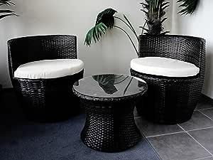 polyrattan gartenm bel set staple schwarz vase amphore. Black Bedroom Furniture Sets. Home Design Ideas