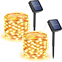 Joomer Solar String Lights Outdoor, 2-Pack Each 33FT 100 LED Super Bright Solar Lights Outdoor, Waterproof Copper Wire 8…