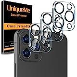 [3 Pack] UniqueMe Protector de Lente de cámara Compatible con iPhone 12 Pro Max (6.7 pulgadas) Cristal Templado, [9H Dureza ]