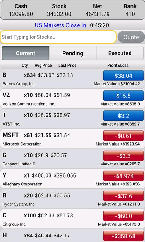Stock option trade simulator