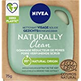 NIVEA NATURALLY Clean Nettoyant Visage Solide Gommage Réducteur de Pores (1 x 75 g), Soin visage exfoliant sans savon, Soin p