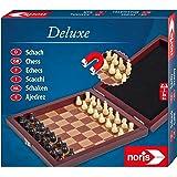 Noris 606108005 - Deluxe Magnetiskt Schack - Magnetiska Pjäser, Högkvalitativ Trälåda, Resestorlek, 2 Spelare, 16x16 cm, Språ