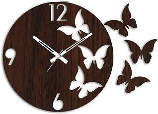 Studio Shubham Decorative Butterfly Wooden Round Wall Clock(26.5X26.5X3Cm)
