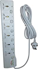 Gadget-Wagon 10A 2500W 6 Way Plug Socket Universal Input Protector with Individual Switch (GW-TT-206, White)