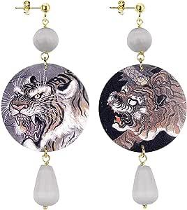 IN Lebole Collezione The Circle DOR09 Tigre Orecchini da Donna in Ottone Pietra Grigia