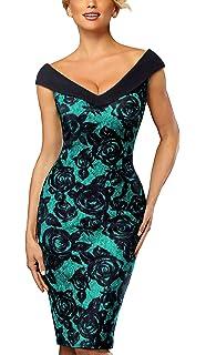 HOMEYEE Damen Vintage Elegant V-Ausschnitt Kurzarm Floral Solid Color Knielanges Business-Kleid B435