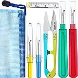 Kit de costura para descoser, 4 piezas, herramienta para cortar hilos con tijeras de recortar, cinta métrica suave y bolsa de