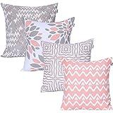 Amazon Brand - UMI Lote de 4 Cojines de algodón Cuadrados Decorativos lujosamente Impresos, Fundas de Almohada para el hogar,