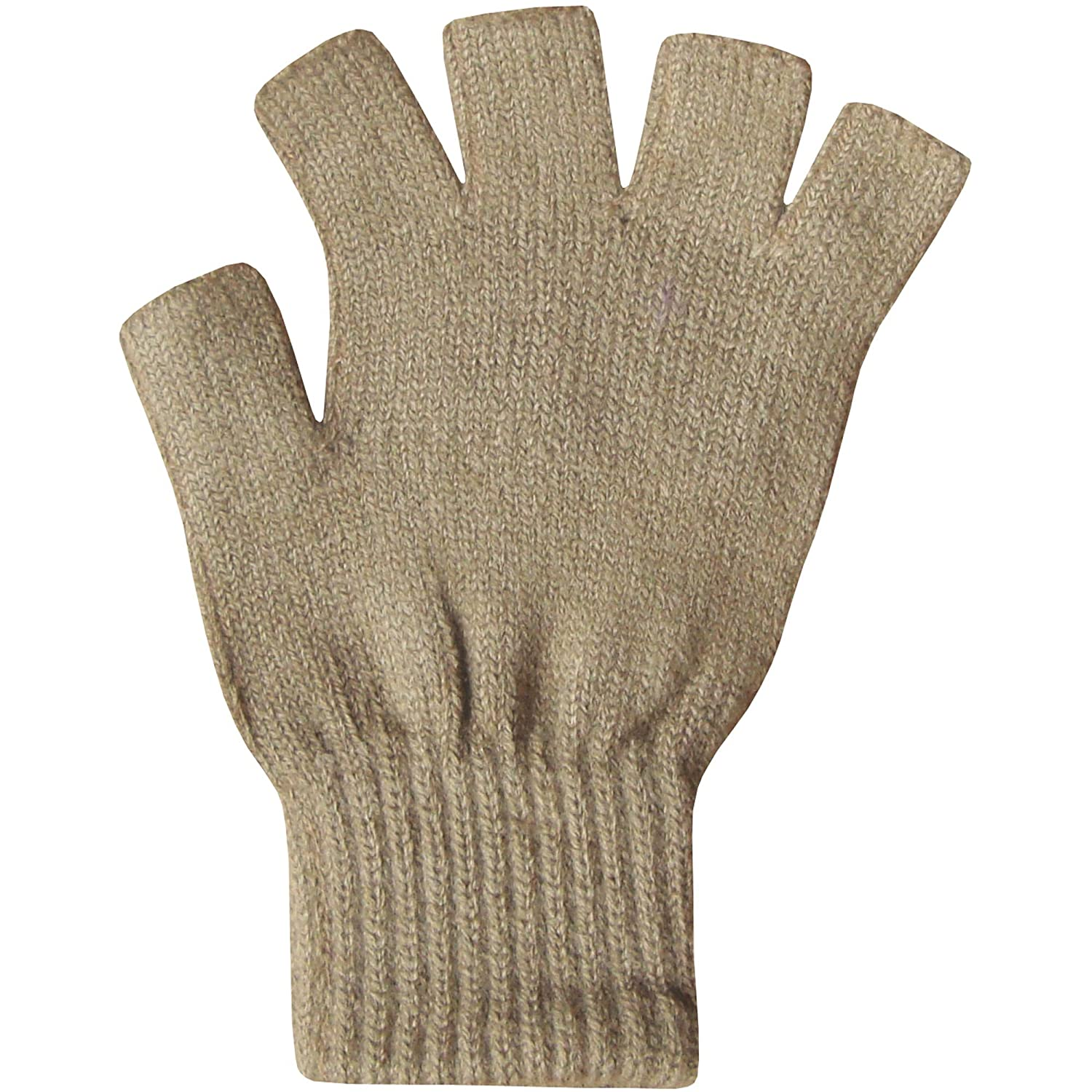 Ladies thermal leather gloves uk - Ladies Super Soft Warm Fine Knit Thermal Fingerless Winter Gloves Beige Amazon Co Uk Clothing