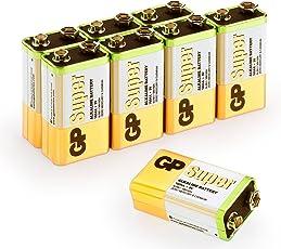 9v Batterien 9V Block (6LR61, MN1604, E-Block, 9 Volt) Super Alkaline Blockbatterien , geeignet z.B. für Rauchmelder, Alarm- und Sicherheitsanlagen und viele weitere Anwendungen (Original GP Batteries Markenware im 8 Stück Multipack)