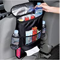 SHRBI Car Back Seat Organizer   Car Back Seat Multi-Pocket Travel Storage Bag with Foil Cover (Black)