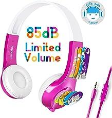 Mimoday Kinder Kopfhörer Begrenzter Lautstärke mit Mikrofon für Jungen und Mädchen iPad iPhone Kindle Fire Tablet Smartphones-Pink