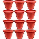 Little Monkey® Terracotta Colour Heavy Duty Plastic Flower Pot 12 Inches Pack of 12