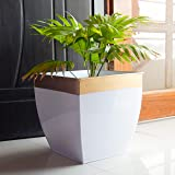 ecofynd Metal Planter, White, Large - 12 inches, 2 Pieces