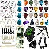 TTCR-II Accesorios para Guitarra 61 Piezas con Afinador de Guitarra, Guitarra Capo, 15 Púas Guitarra, 3 juegos Cuerdas Guitar