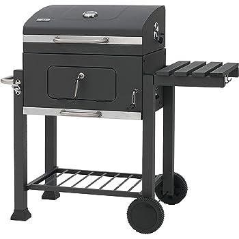 Tepro Griglia/Barbecue Modello Toronto 1061, Trasportabile con 2 ruote, Piano di appoggio laterale, Temperatura regolabile, In acciaio inox, Nero e cromo