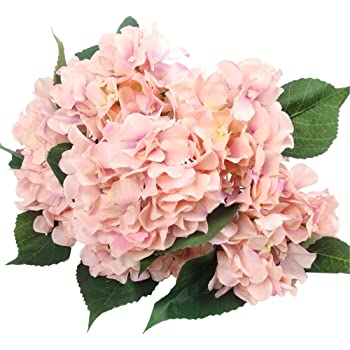Efivs Arts 45CM Silk Artificial Flowers 7 Big Head Hydrangea Bouquet for Wedding, Room, Home, Hotel, Party Decoration and Holiday Gift, Pink