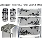 LOOMANTHA Combo of L-7 Decorative 1 Fridge Top/2 Handle Cover and 3 Mats (Black and White) -6 Pieces Set