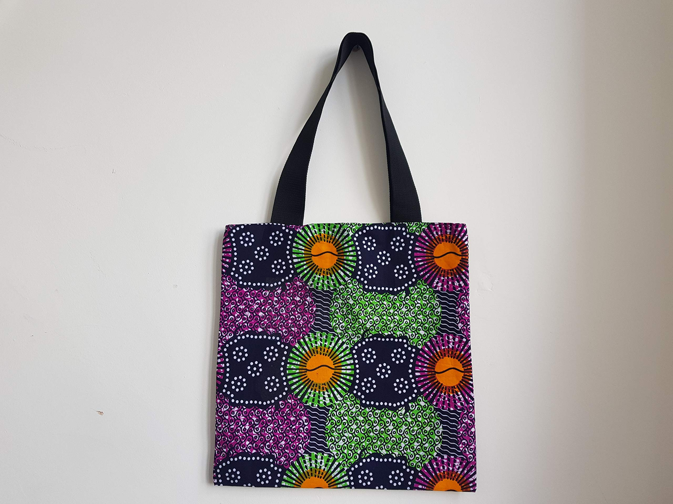African Print Ankara Kente Tote Bag with webbing straps and Vlisco Uni colours lining - WAKANDA - handmade-bags