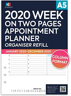 compatibile con Filofax Ricarica per agenda 2020 colore: bianco A5: 148 x 210mm NBplanner/® settimana su una pagina