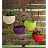YOUNG CRAFTS Plastic Planter With Hanging Chain, Multicolour, 15.5cm 10.5cm, 5 Pieces