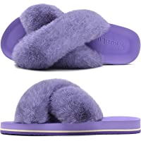 KuaiLu Womens Fluffy Sliders Ladies Cross Band Faux Fur Slippers with Yoga Mat Furry Open Toe Sandals Indoor Outdoor