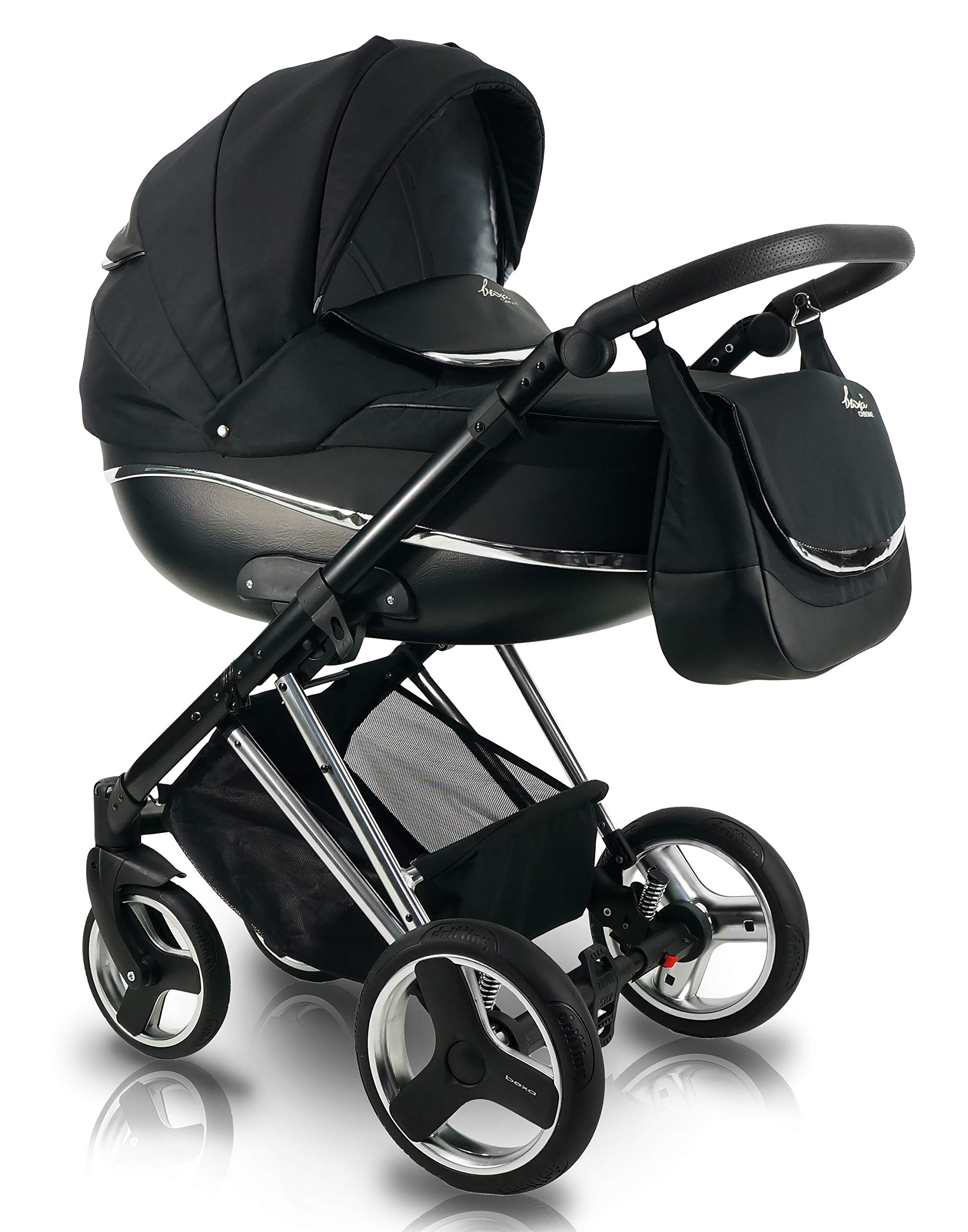 SaintBaby Stroller Buggy Baby seat Car seat Next II Gold Chrome Gold N1 4in1 with Isofix SaintBaby If you want the black frame instead of the gold frame, please inform us after the purchase. 3in1 or 2in1 Selectable. At 3in1 you will also receive the car seat (baby seat). Of course you get the baby tub (classic pram) as well as the buggy attachment (sports seat) no matter if 2in1 or 3in1. The car naturally complies with the EU safety standard EN1888. During production and before shipment, each wagon is carefully inspected so that you can be sure you have one of the best wagons. Saintbaby stands for all-in-one carefree packages, so you will also receive a diaper bag in the same colour as the car as well as rain and insect protection free of charge. With all the colours of this pram you will find the pram of your dreams. 2